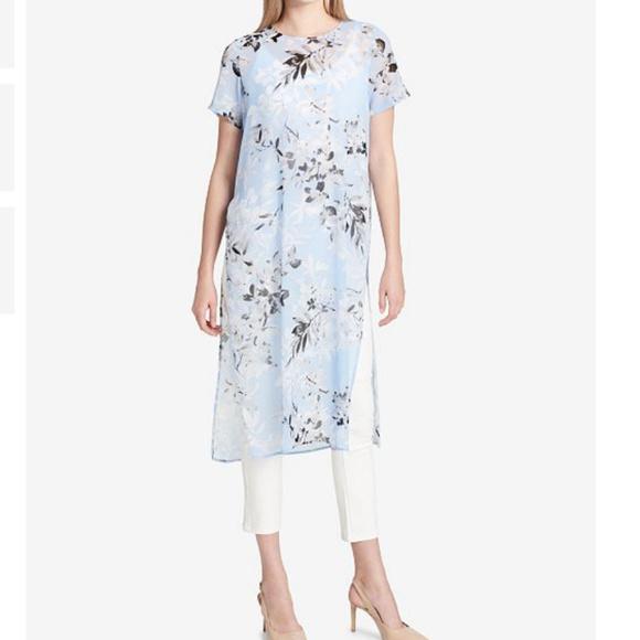 9ec30823ed5 Calvin Klein Dresses | Printed Chifon Maxi Tunicdress | Poshmark